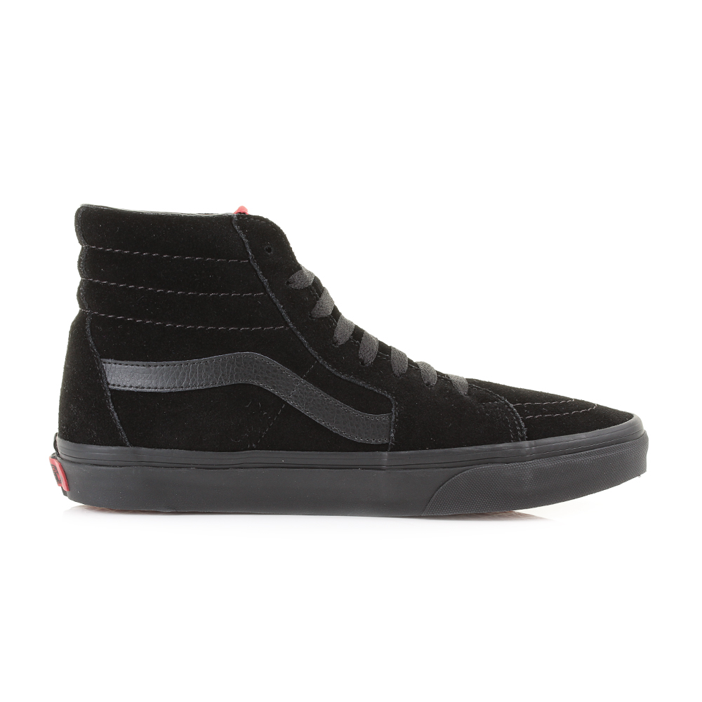 b423af27d45 Mens Vans Sk8 Hi Black Black Suede Casual Leather High Top Trainers ...