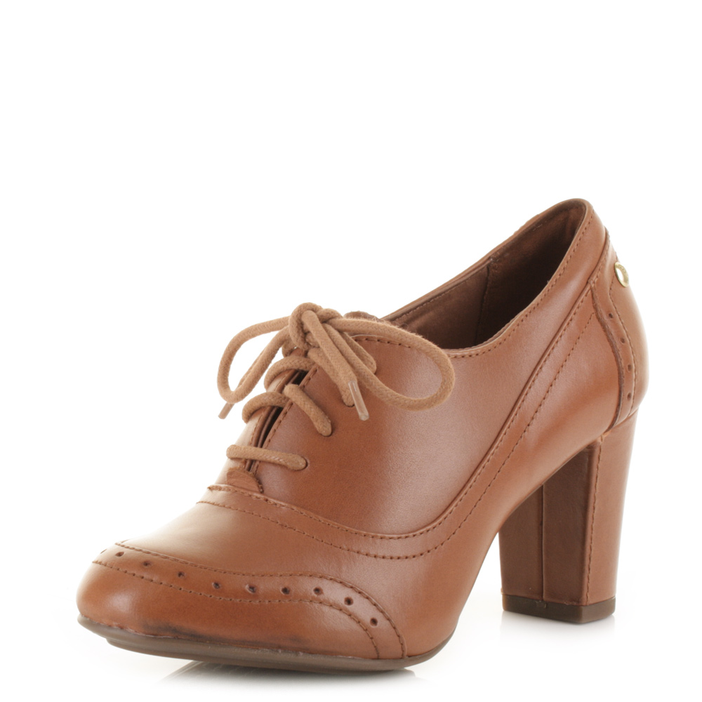 Womens Hush Puppies Sisany Oxford Tan Leather Lace Up ...