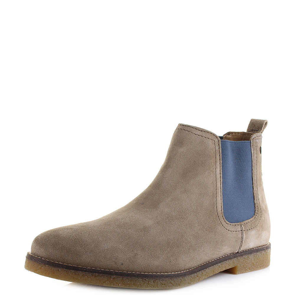 f5c691575263f Details about Mens Base London Ferdinand Suede Taupe Pop Leather Chelsea  Boots Shu Size