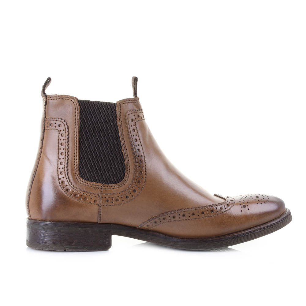 Mens Base London Southwark Burnished Tan Brown leather Chelsea Boots Size