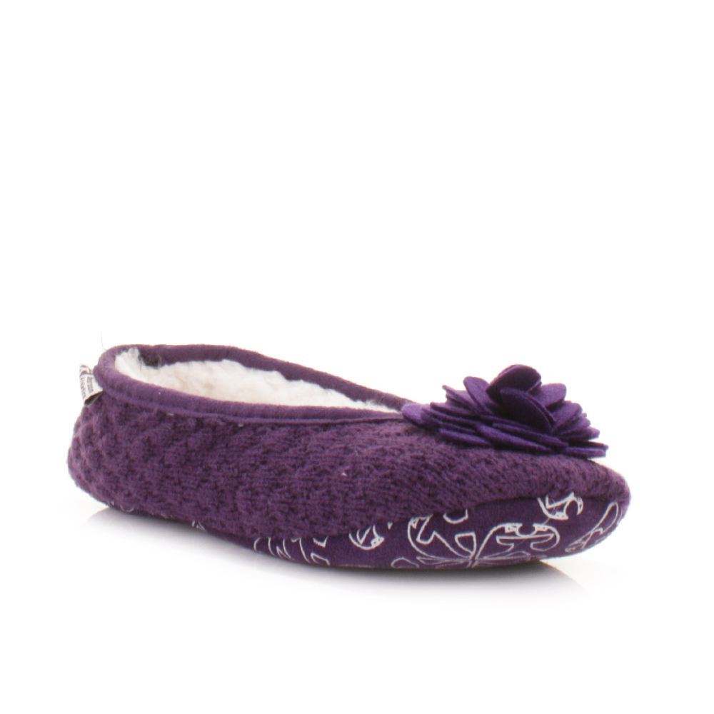 womens bedroom athletics charlize grape fleece knitted 13874 | bedroom athletics charlize grape womens slippers shoes 02