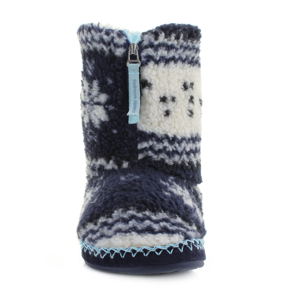 Mens Bedroom Athletic Cruise Navy Sky Blue Fairisle Fleece Slipper Boots Shu Siz