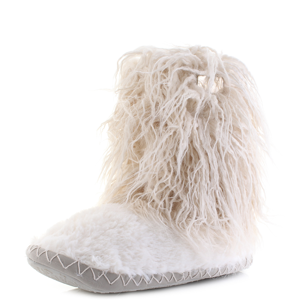 Womens Bedroom Athletics Jean Cream Shaggy Hair Slipper Boots Shu Size