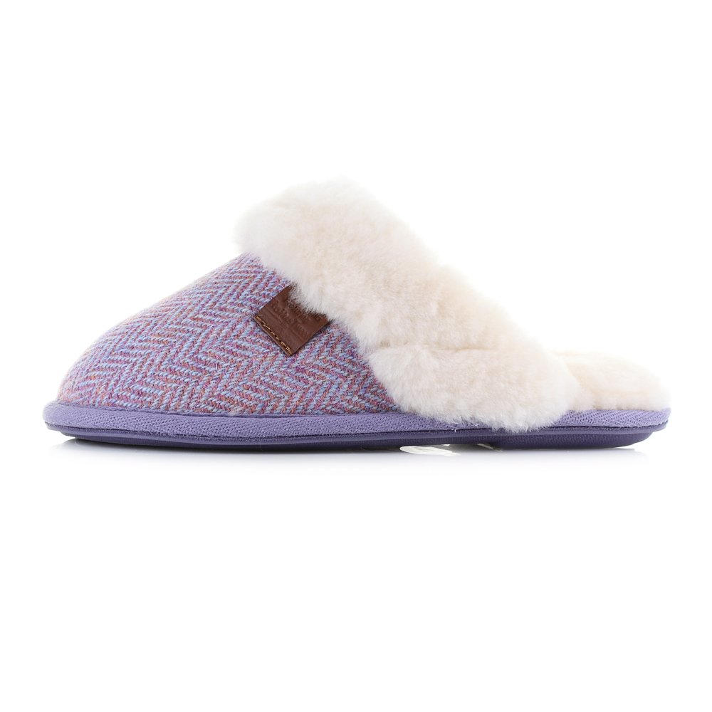 womens bedroom athletics kate pink harris tweed sheepskin lined slippers uk size ebay. Black Bedroom Furniture Sets. Home Design Ideas
