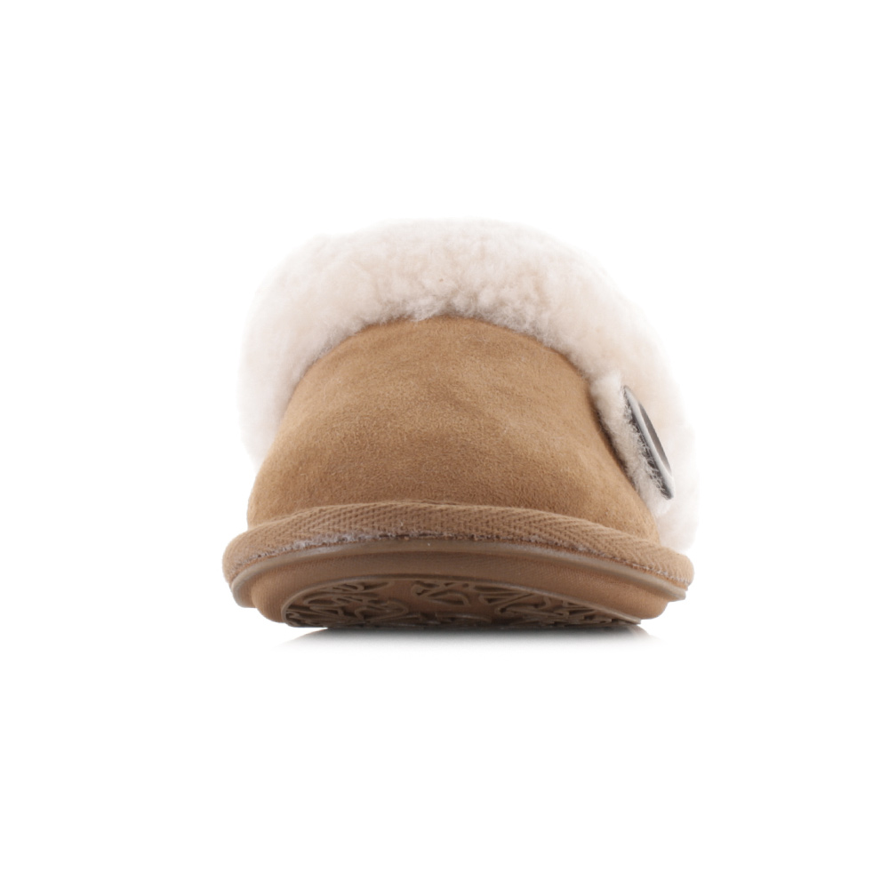 womens bedroom athletics molly chestnut suede faux fur mule slippers uk size ebay. Black Bedroom Furniture Sets. Home Design Ideas
