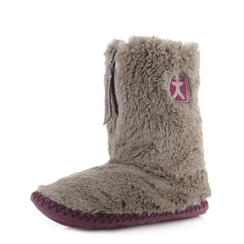 womens bedroom athletics monroe moonrock plum faux fur slipper boots rh ebay co uk Men's Tall Slipper Boots Bedroom Men's Slipper Boots