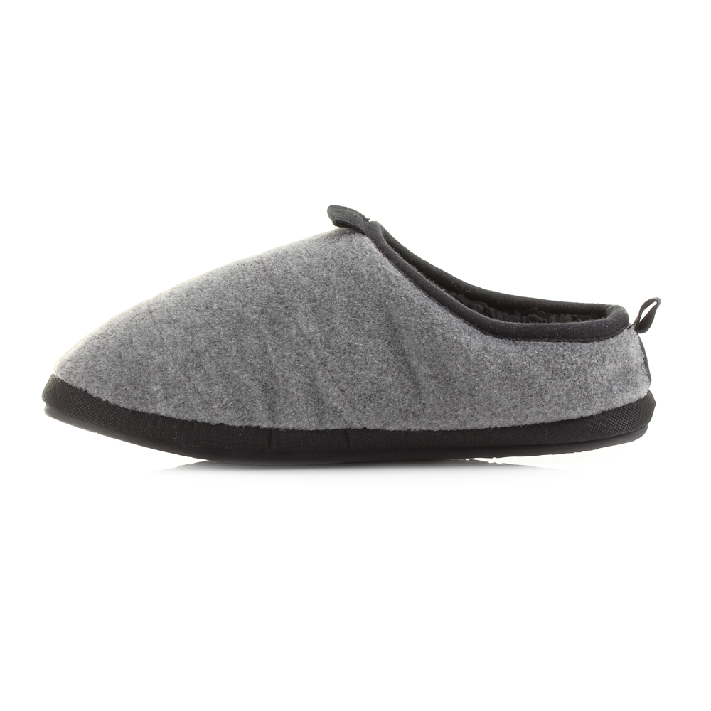 mens bedroom athletics travolta grey felt mule fleece slippers uk size ebay. Black Bedroom Furniture Sets. Home Design Ideas