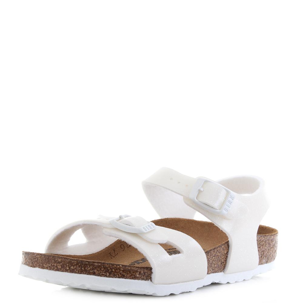 e50e7a8ba08b Kids Birkenstock Rio Magic Galaxy Glitter Covered White Sandals Shu Size
