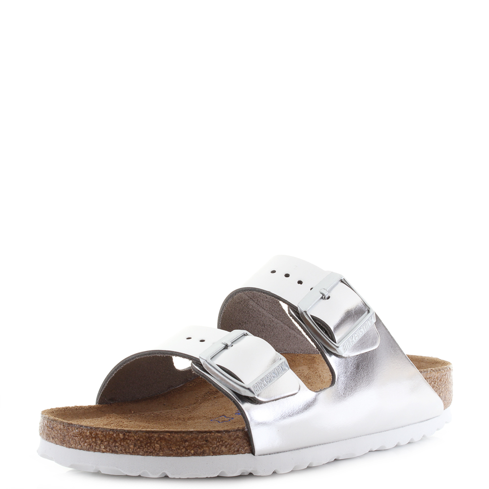 0223a9808 Birkenstock Arizona Soft Foot Bed Metallic Silver Leather Sandals Narrow  Shu Siz