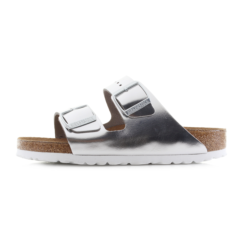 d484547ed Birkenstock Arizona Soft Foot Bed Metallic Silver Leather Sandals Narrow UK  Size