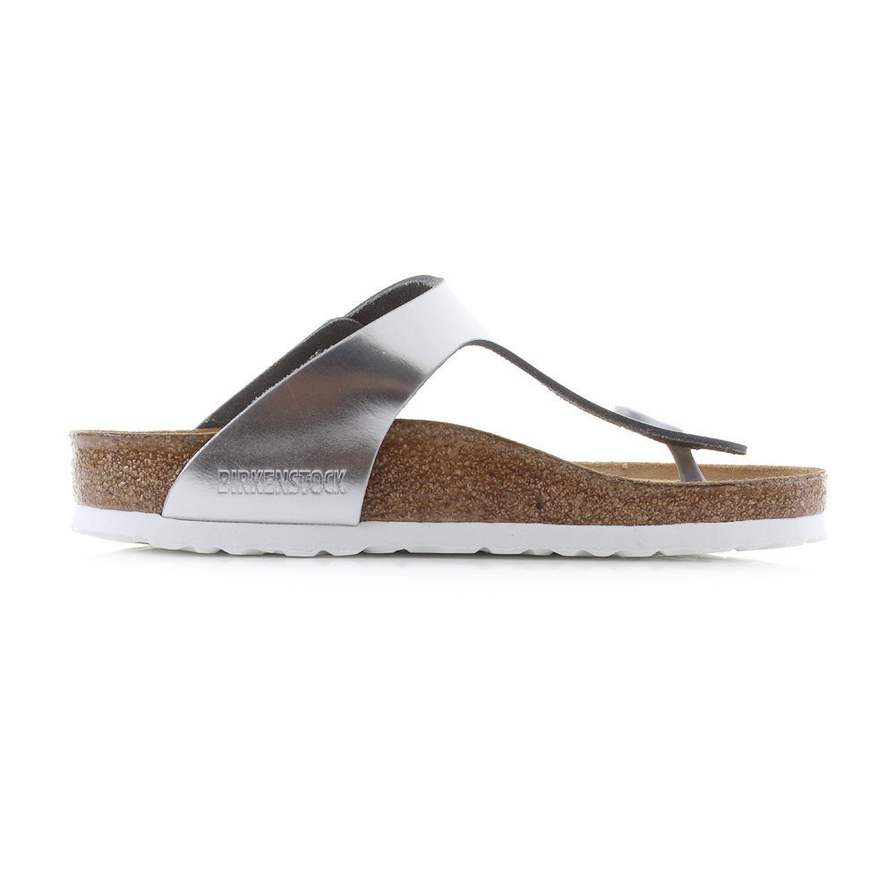 6a75c243910 Birkenstock Gizeh SFB Metallic Silver Leather Flat Sandals 7 US Women   38  EU. About this product. Picture 1 of 5  Picture 2 of 5 ...