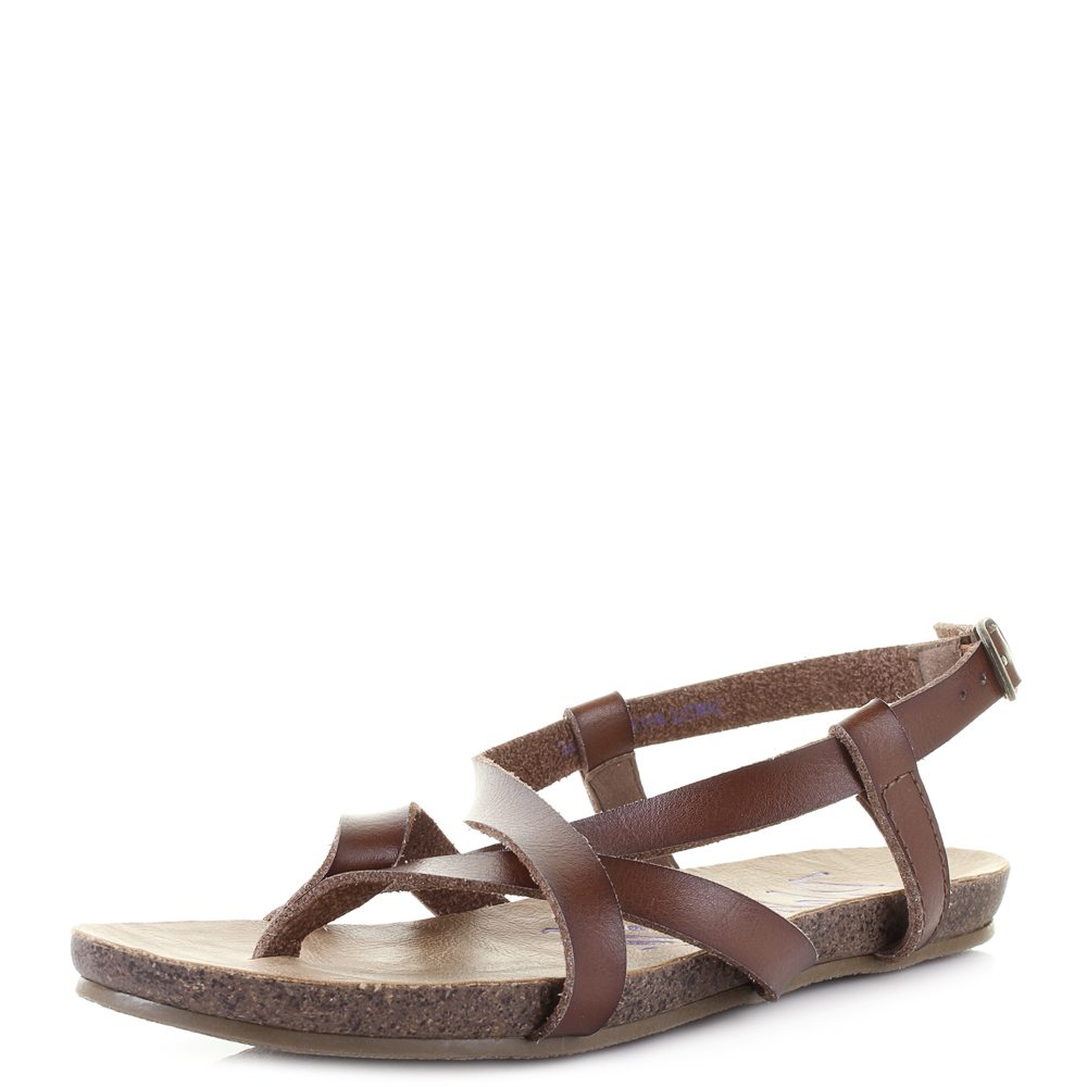 de78567b0 Details about Womens Blowfish Granola Whiskey Dyecut Gladiator Flat Sandals  Size