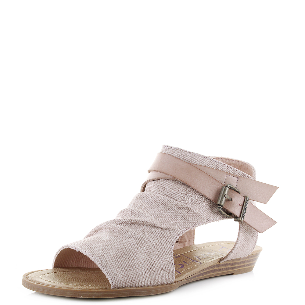 bd1eb98641ef Details about Womens Blowfish Balla Blush Rancher Canvas Wedge Sandals Shu  Size