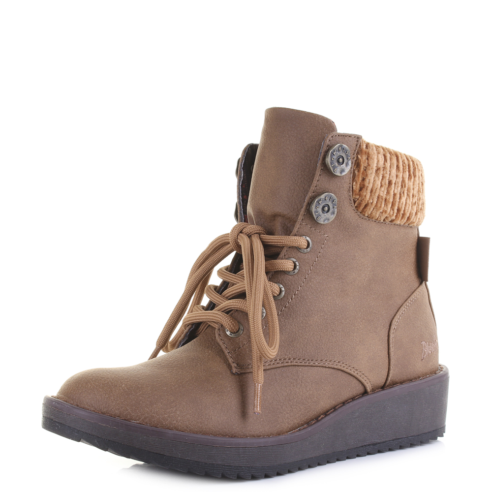 c9f78790569 Details about Womens Blowfish Chomper Faux Leather Low Wedge Heel Ankle  Boots Size