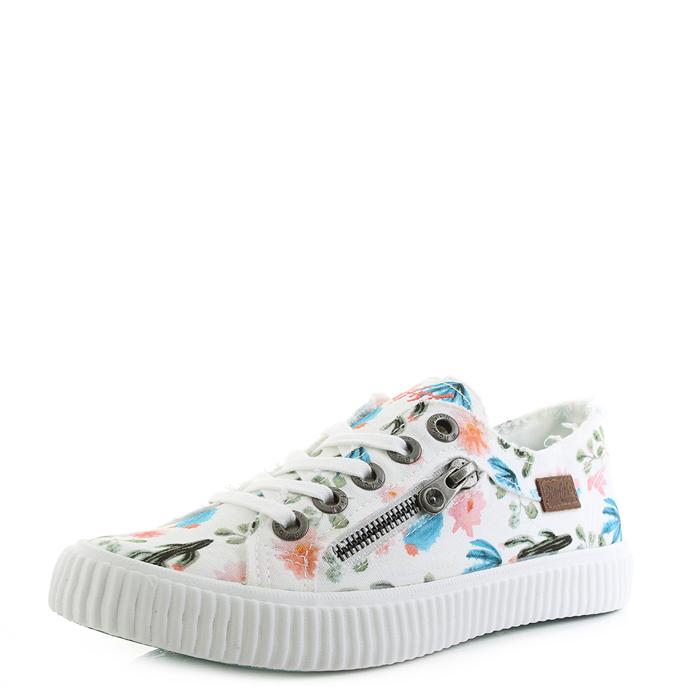 Womens Blowfish Coyote White Prickly Print Floral Canvas Trainers UK Size