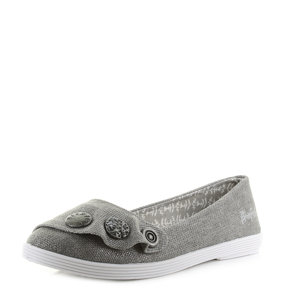 Womens Blowfish Gayls Pewter Rancher Canvas Flat Shoes