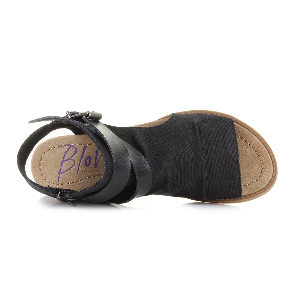 e4c13c515c4 Womens Blowfish Balla Black Rancher Canvas Flat Sandals Sz Size