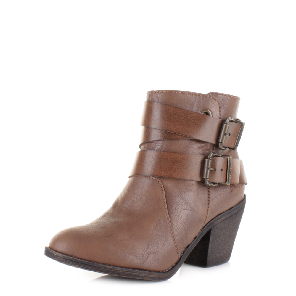 Womens Ladies Blowfish Sworn Coffee Old Saddle Brown Heeled Ankle Boots Uk  Size