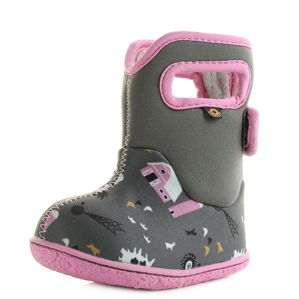 Kids Baby Bogs Farm Grau Loden Multi Grau Farm Pink Wellies Wellington Stiefel 2026c8