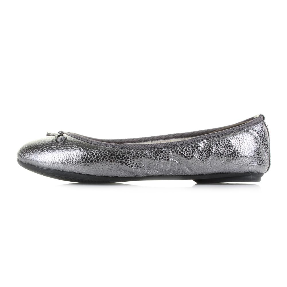 Womens Butterfly Twist Penelope Pewter Metallic Flat Ballerina Shoes Shu  Size a98e0ae71