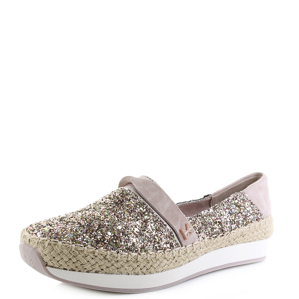 Womens Butterfly Twists Maya Rose Gold Glitter Flat Espadrille Shoes Shu  Size 3de68274ebbd