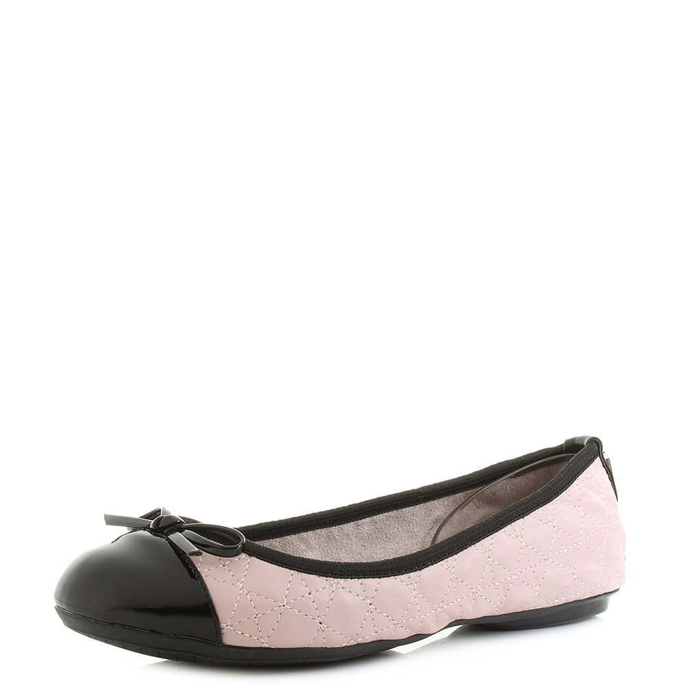 05ad5ba3f208a Details about Womens Butterfly Twist Olivia Blush Pink Black Ballet Pumps  Shoes Size