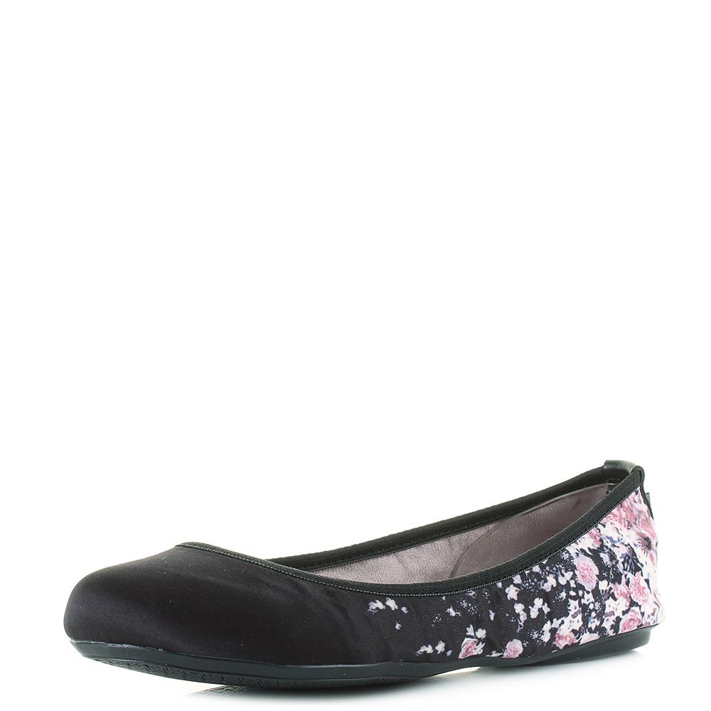 c5f5a5ebcfda Womens Butterfly Twist Sophia Black Fl Ballet Pumps Flat Shoes