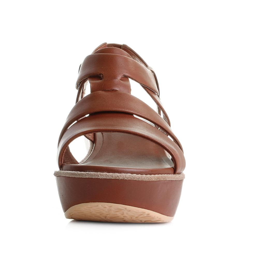 5da04d9bc134 Womens Camper Damas Brown Leather Platform Wedge Sandals Sz Size