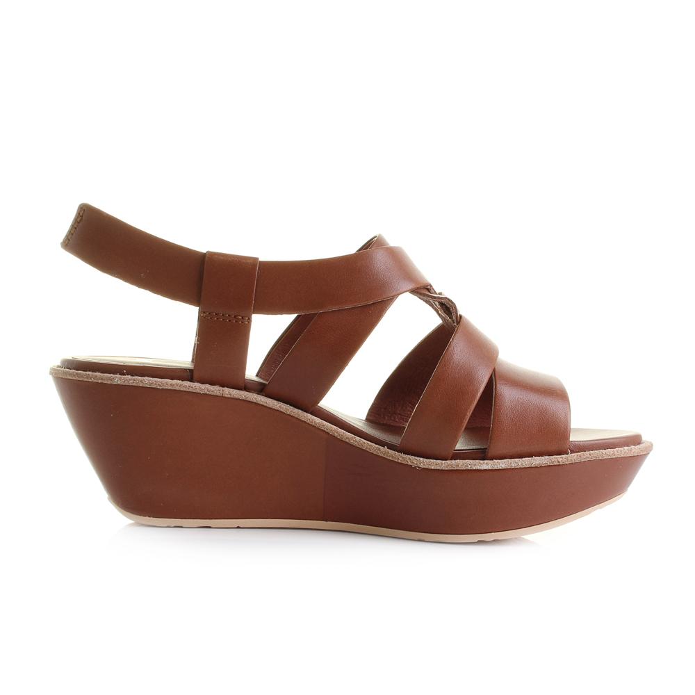 4abf62990d97 Womens Camper Damas Brown Leather Platform Wedge Sandals Sz Size