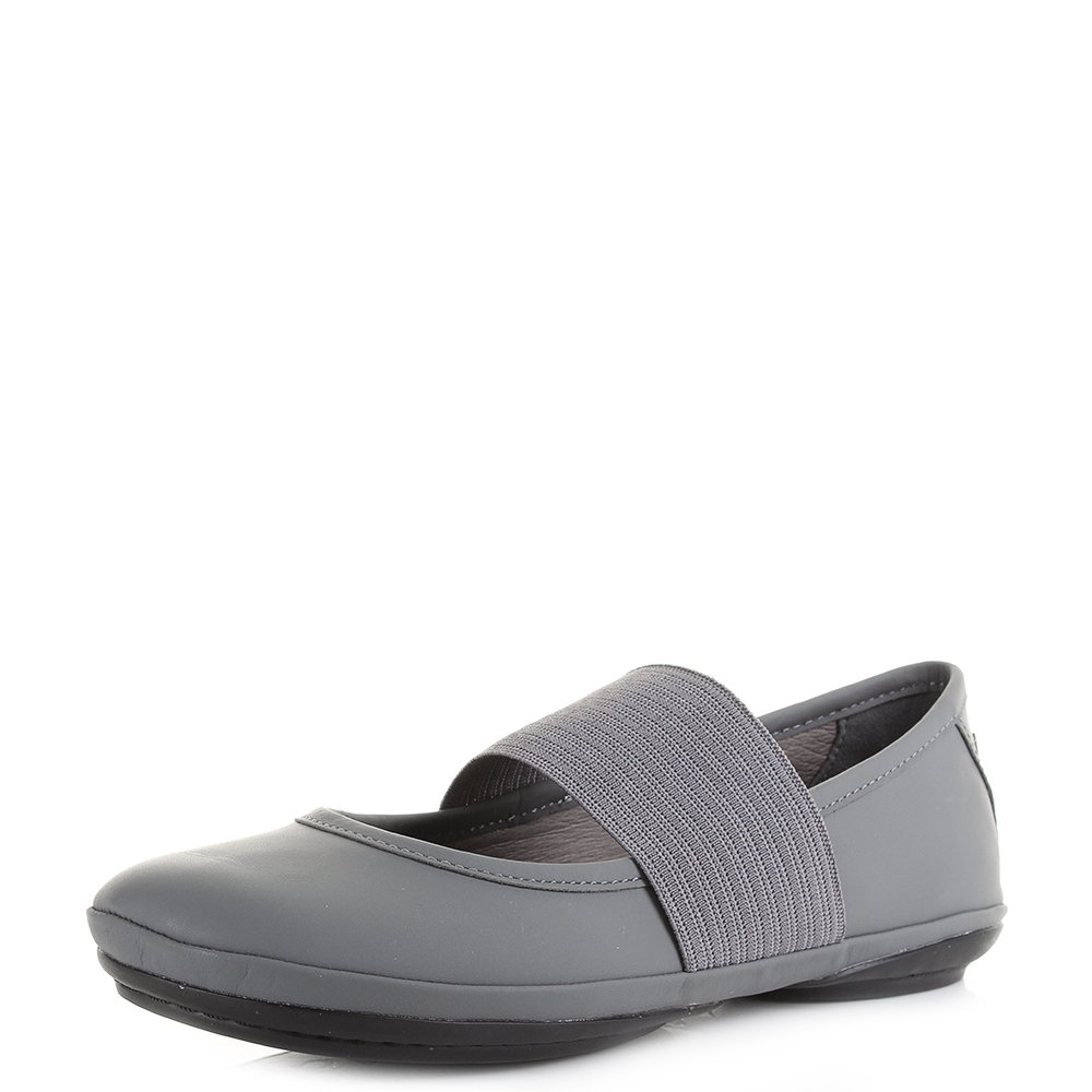 Womens Camper Right Nina Grey Leather Flat Ballerina Shoes Size