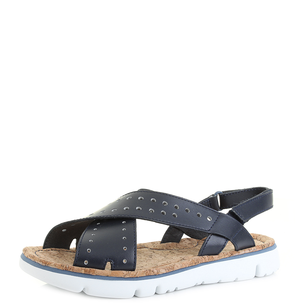 b4177c0d427d9 Details about Womens Camper TWS Navy Flat Leather Crossover Sandals Size