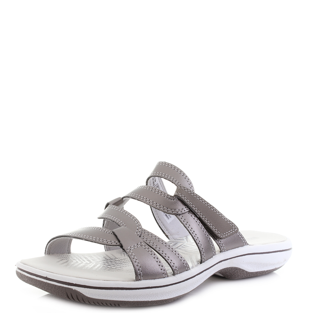 Womens Clarks Brinkley Lonna Pewter Synthetic Slip On Sandals D Fit Shu Size