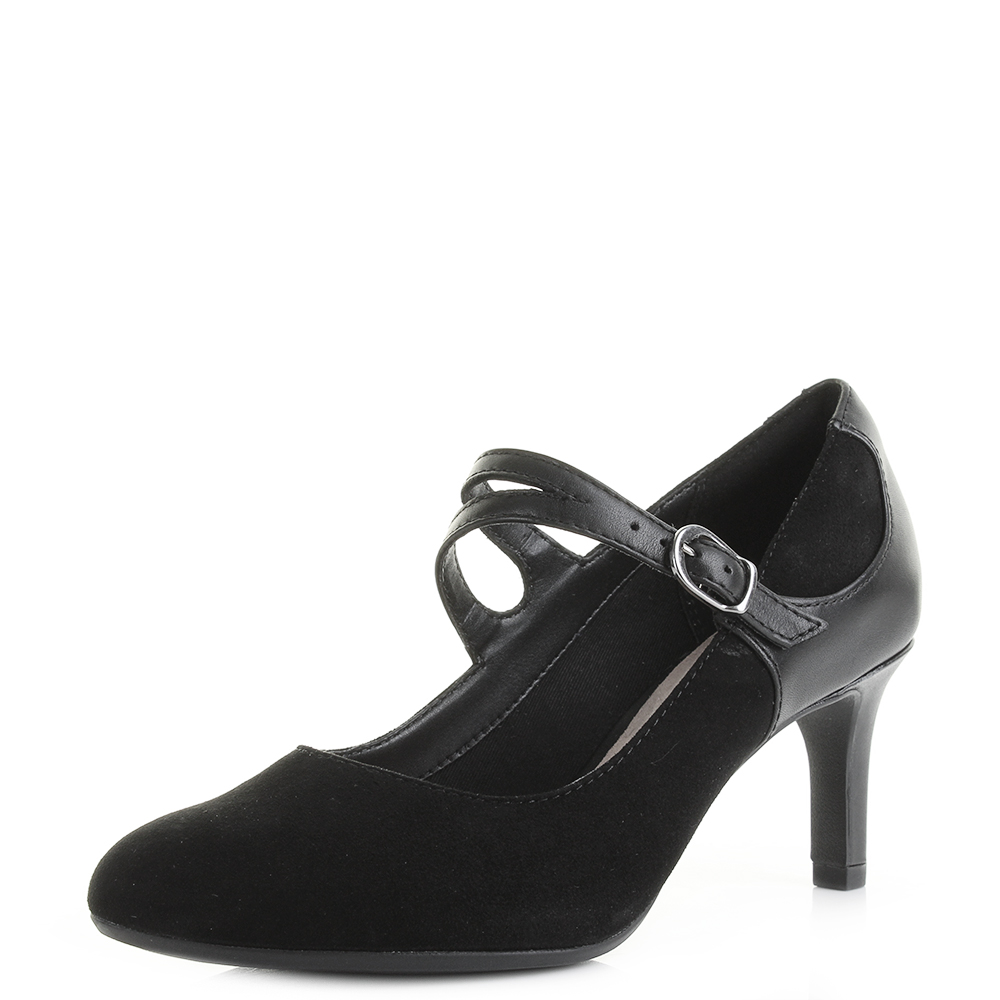811c2bbc54b Details about Womens Clarks Dancer Reece Black Leather Mary Jane Court  Shoes D Fit UK Size
