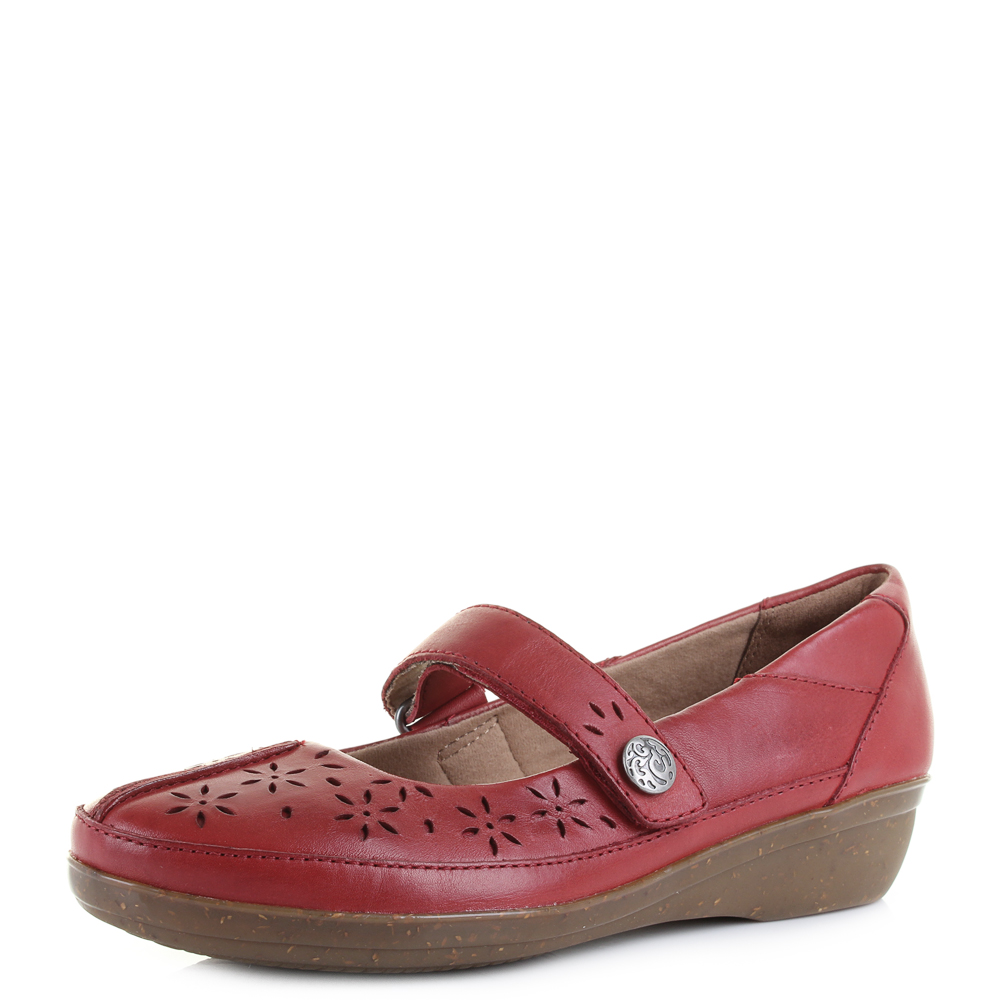 7218ee2f4f00 Womens Clarks Everlay Bai Red Flat Leather Mary Jane Shoes - D fit UK Size