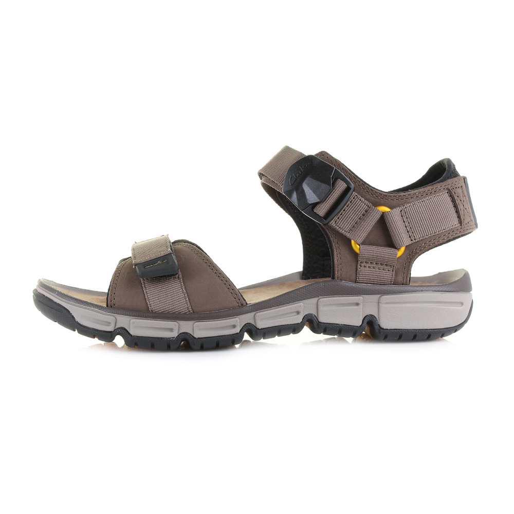 275a2cf513aa Mens Clarks Explore Part Mushroom Brown Leather Sandals Shu Size