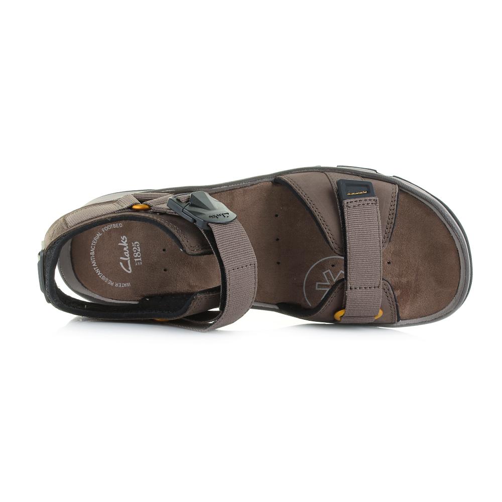 Mens Clarks Explore Part Mushroom Brown Leather Sandals