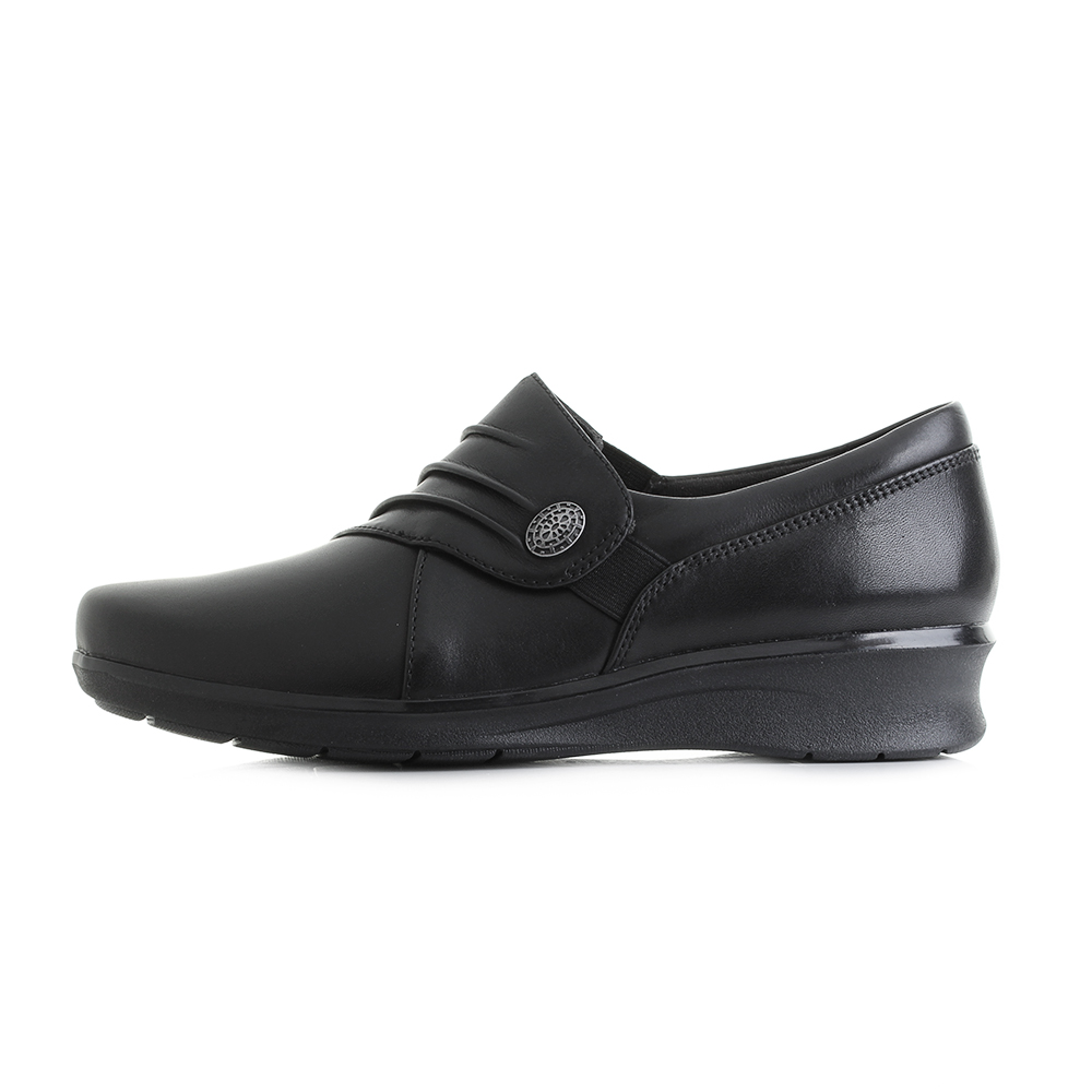 Womens-Clarks-Hope-Roxanne-Black-Leather-Work-Low-Wedge-Shoes-E-Fit-Shu-Size thumbnail 5