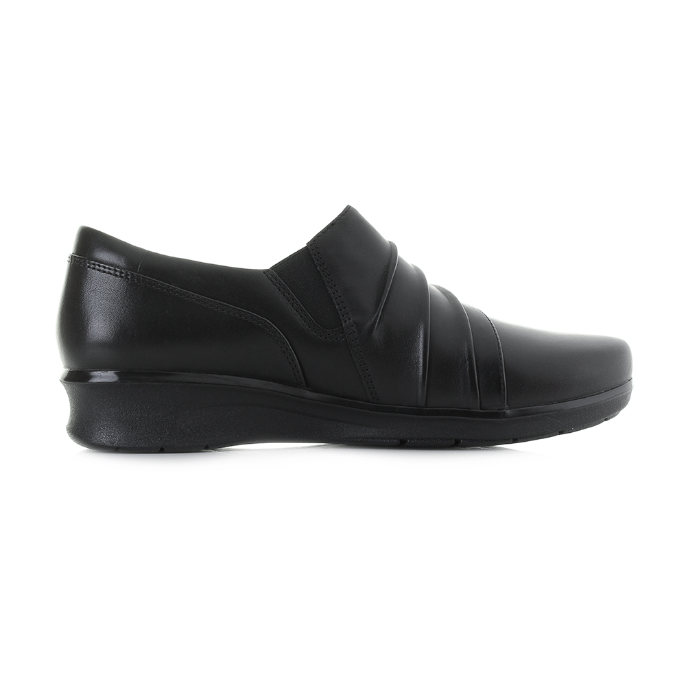 Womens-Clarks-Hope-Roxanne-Black-Leather-Work-Low-Wedge-Shoes-E-Fit-Shu-Size thumbnail 7