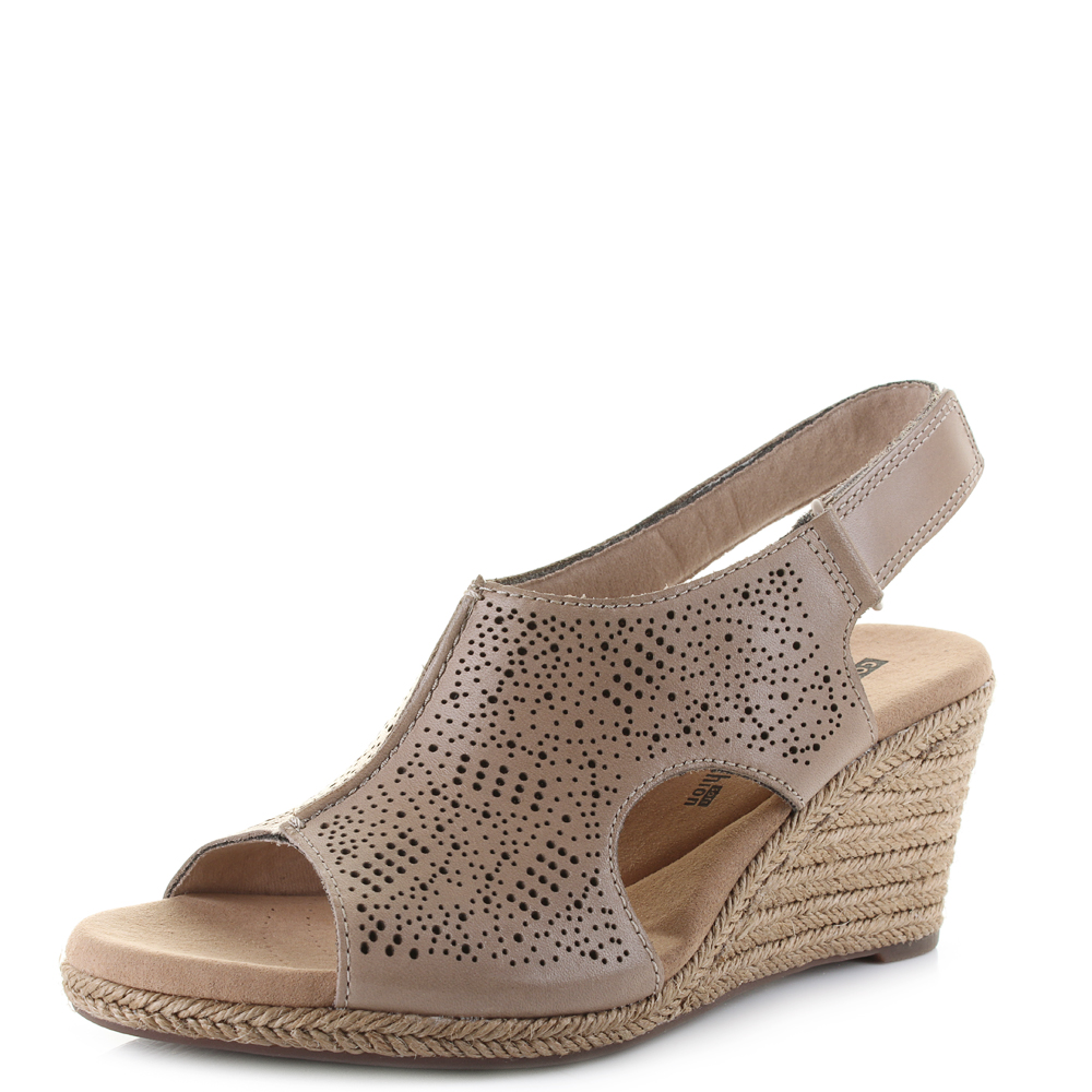 f431e3b5f61f Details about Womens Clarks Lafley Rosen Sand Leather Wedge Summer Sandals  D Fit Shu Size