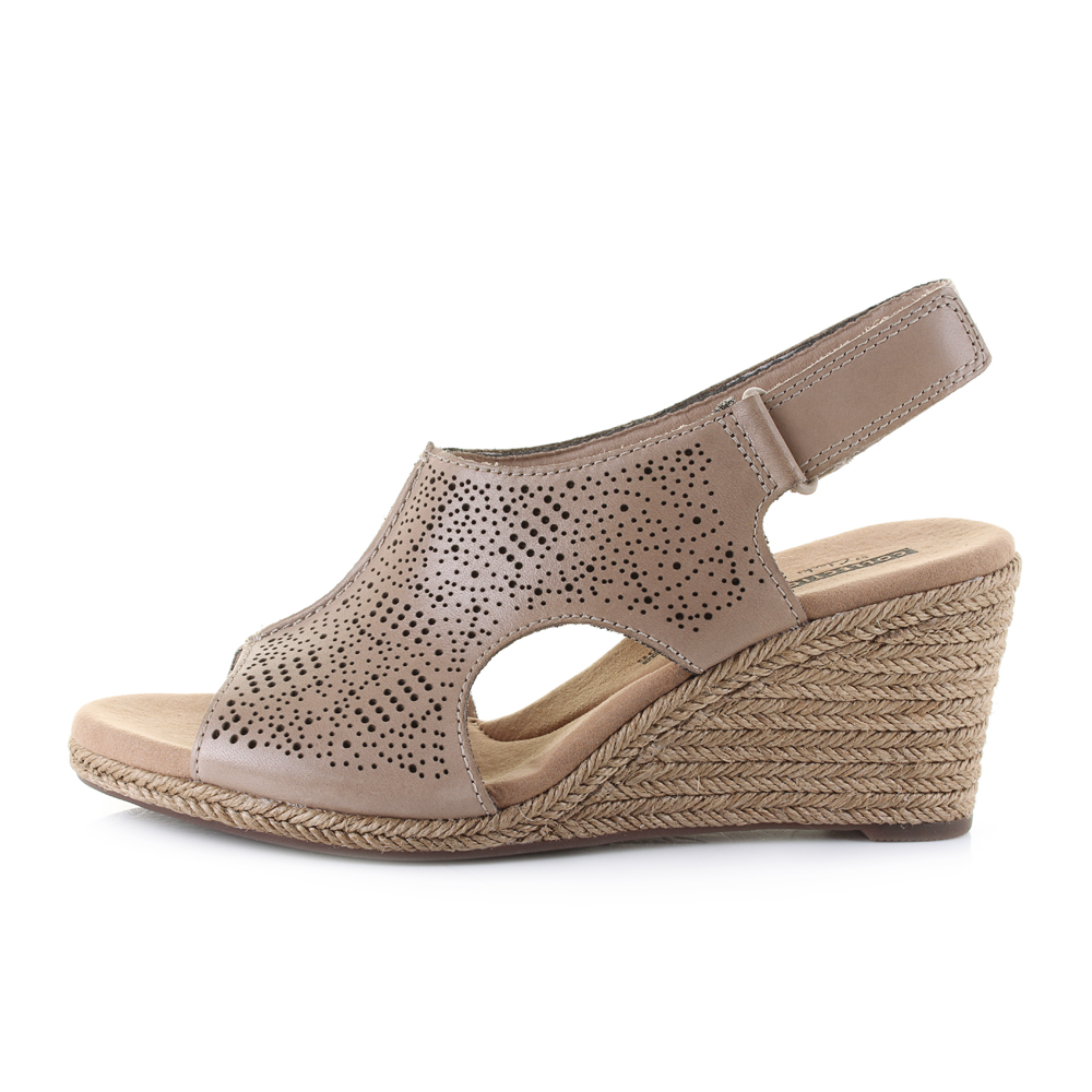 999f1db2aee Details about Womens Clarks Lafley Rosen Sand Leather Wedge Summer Sandals  D Fit UK Size