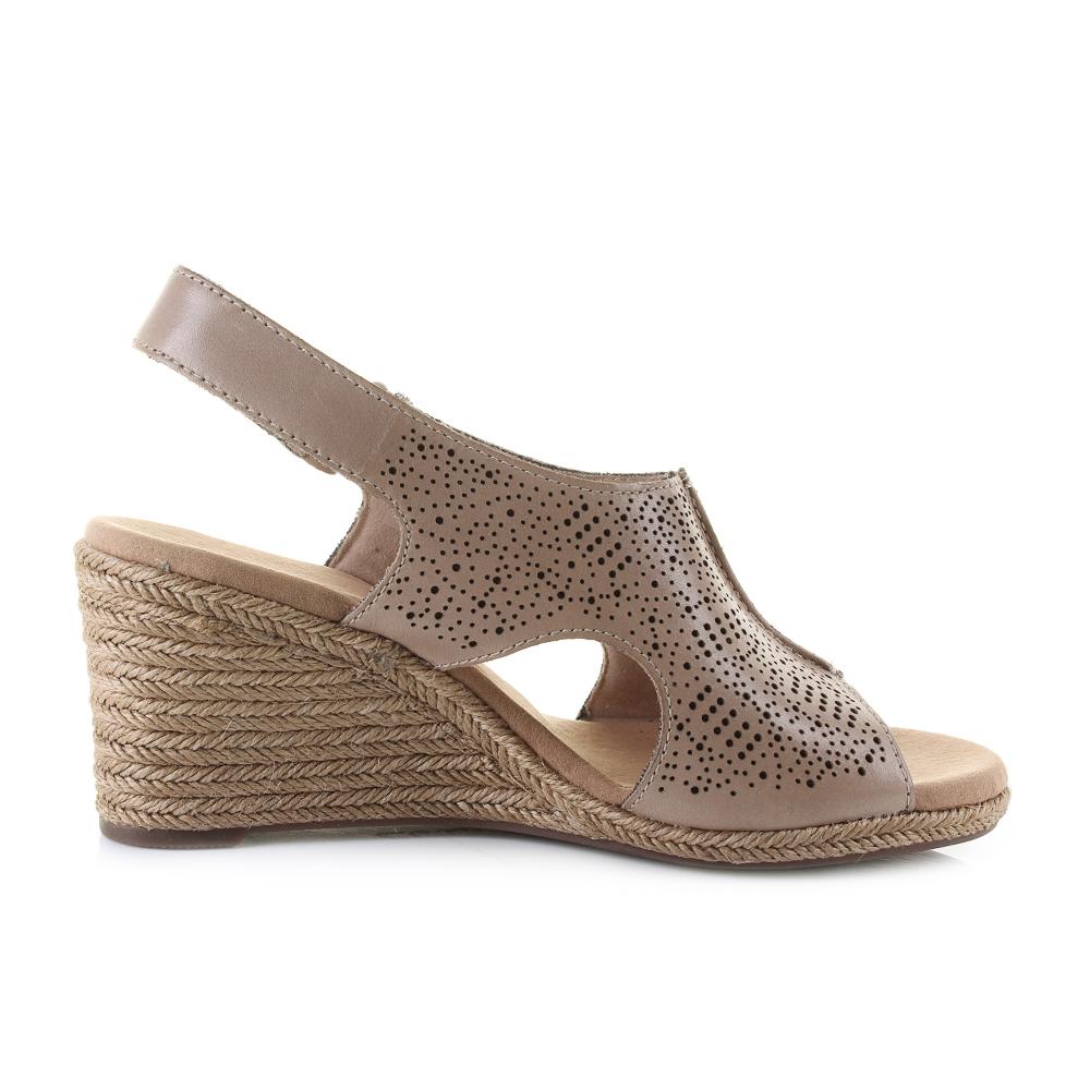 105d893a6c Womens Clarks Lafley Rosen Sand Leather Wedge Summer Sandals D Fit Shu Size