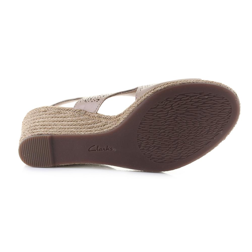 0d17d896624 Details about Womens Clarks Lafley Rosen Sand Leather Wedge Summer Sandals  D Fit Shu Size