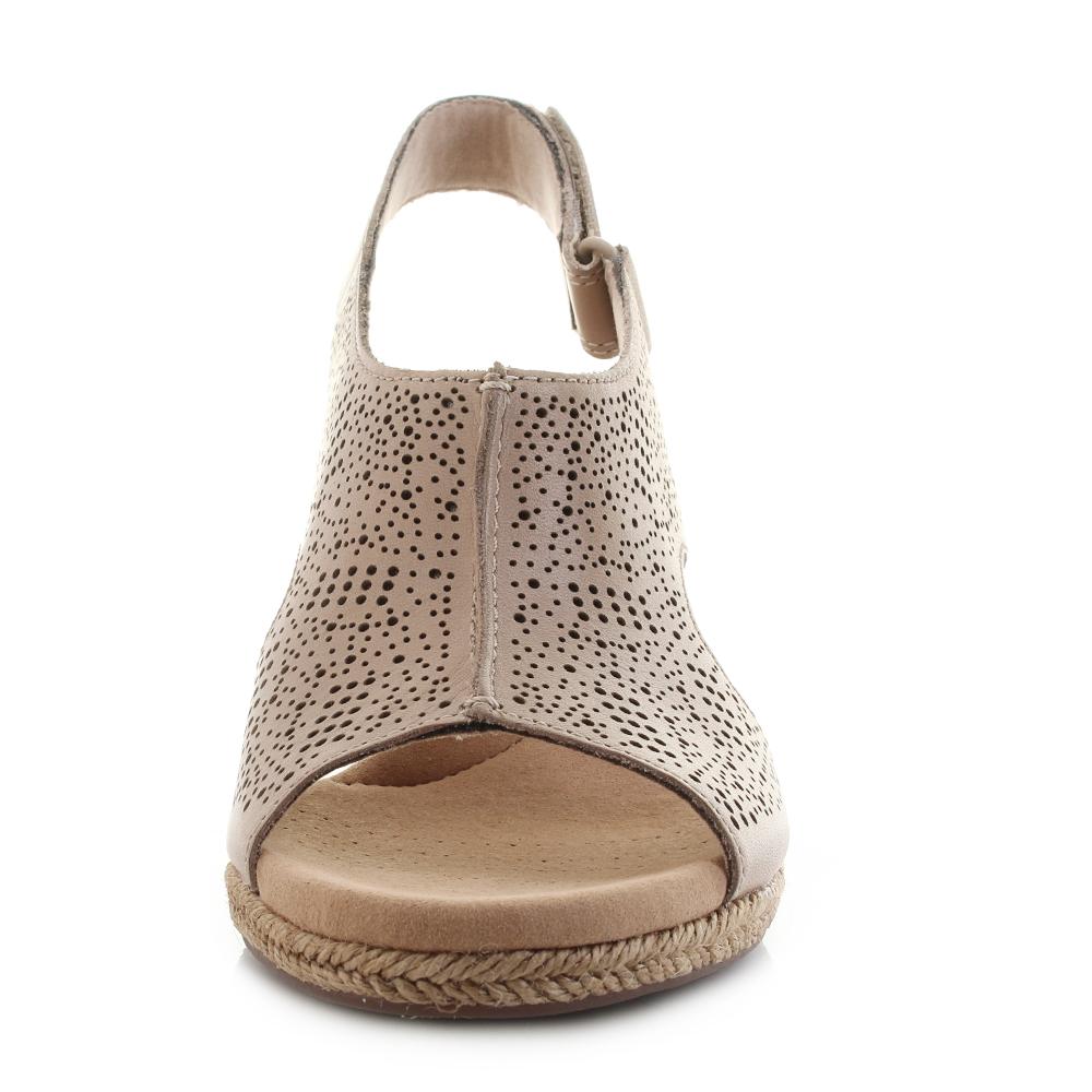 4d08dd31dc Womens Clarks Lafley Rosen Sand Leather Wedge Summer Sandals D Fit ...