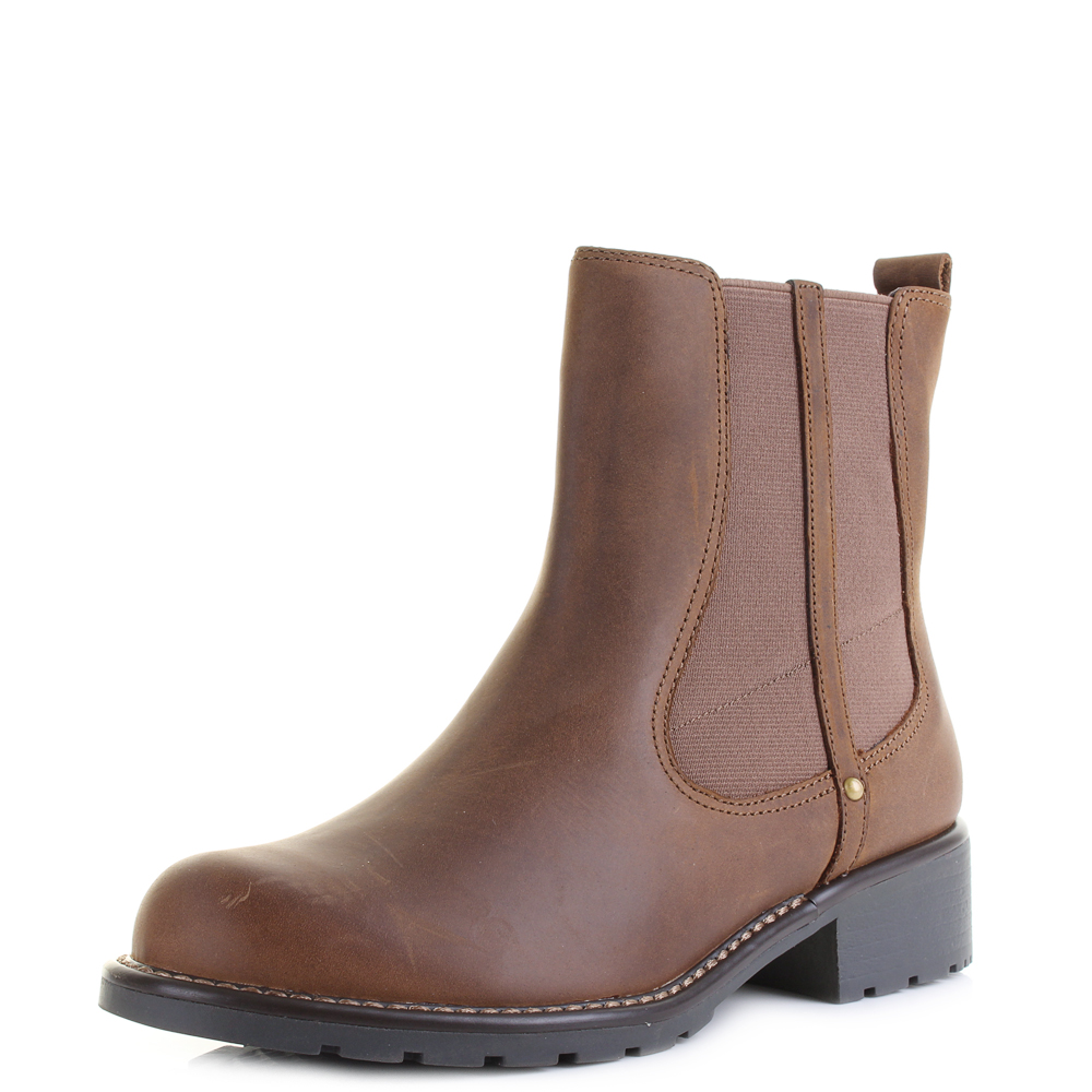 fe9bc883f3f9 Details about Womens Clarks Orinoco Club Brown Snuff Leather Chelsea Boots  D Width Size