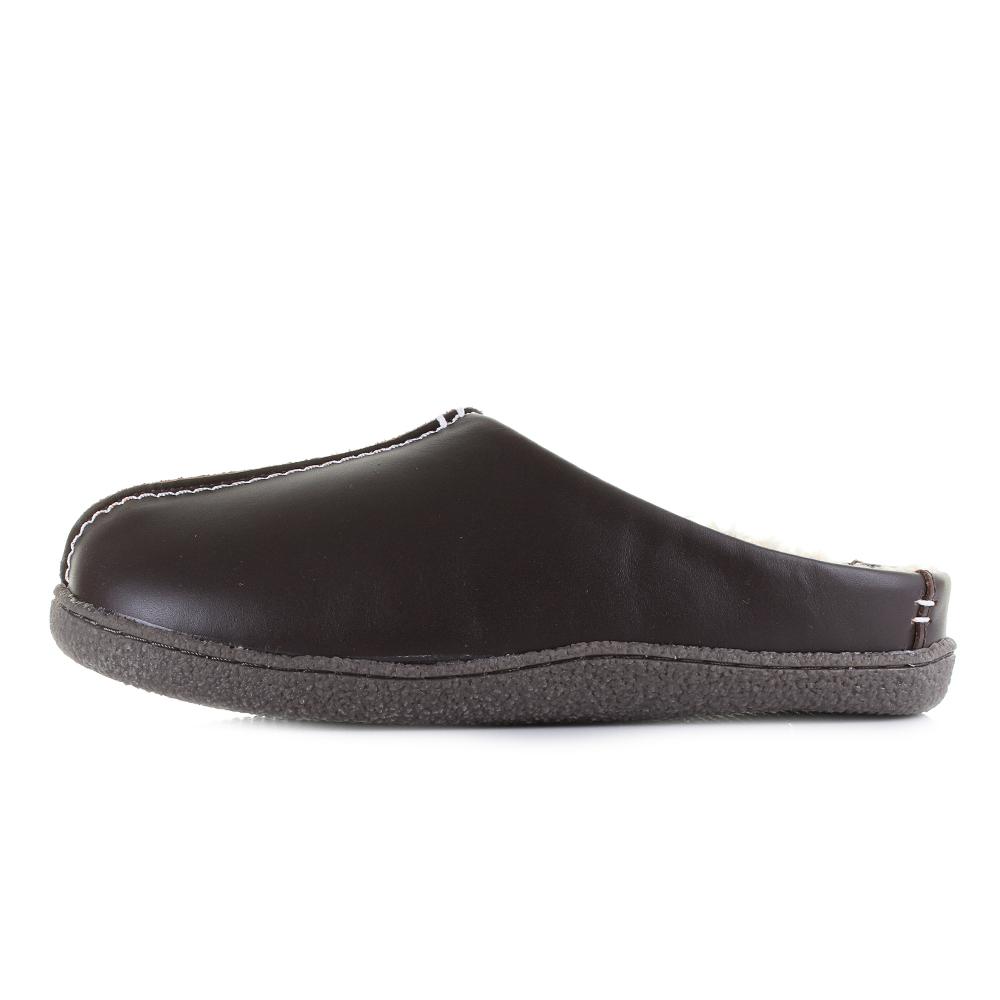 Relaxed Taille Confortable Clarks Style Mens Marron Pantoufles Marron Cuir En Cuir En PxgwIqq5C