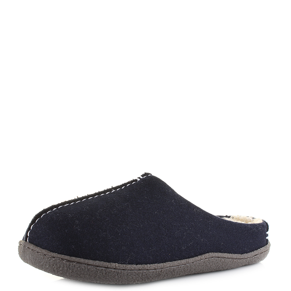 f36e2dafd3f5 Mens Clarks Relaxed Style Navy Warm Comfort Slippers Shu Size