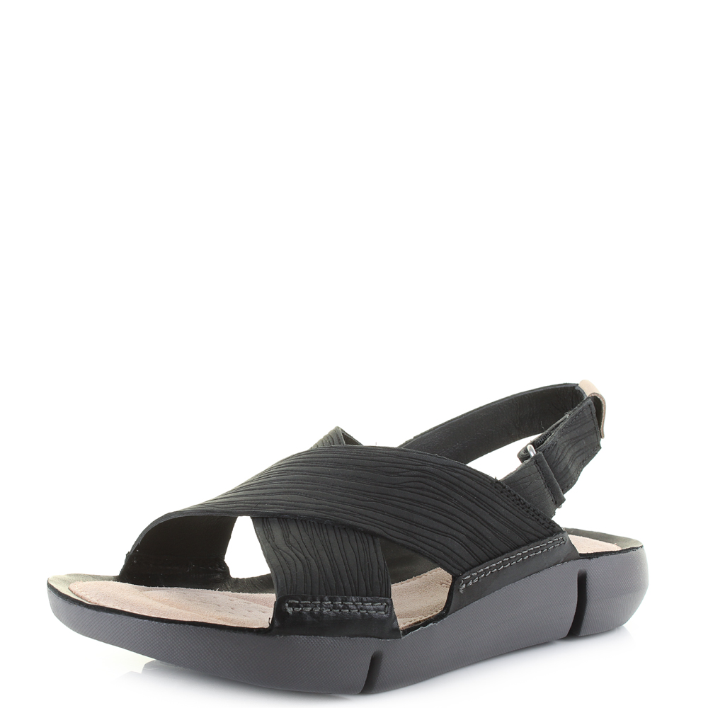 a59da2f84e968 Womens Clarks Tri Chloe Black Crossover Comfort Sandals D Fit Shu Size