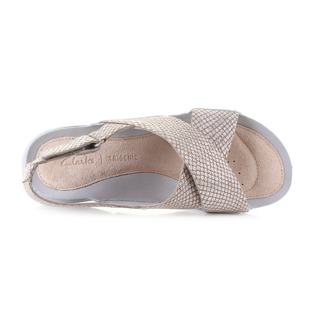 107729ec363f8 Womens Clarks Tri Chloe Metallic Lightweight Crossover Sandals D Fit. UK  Size
