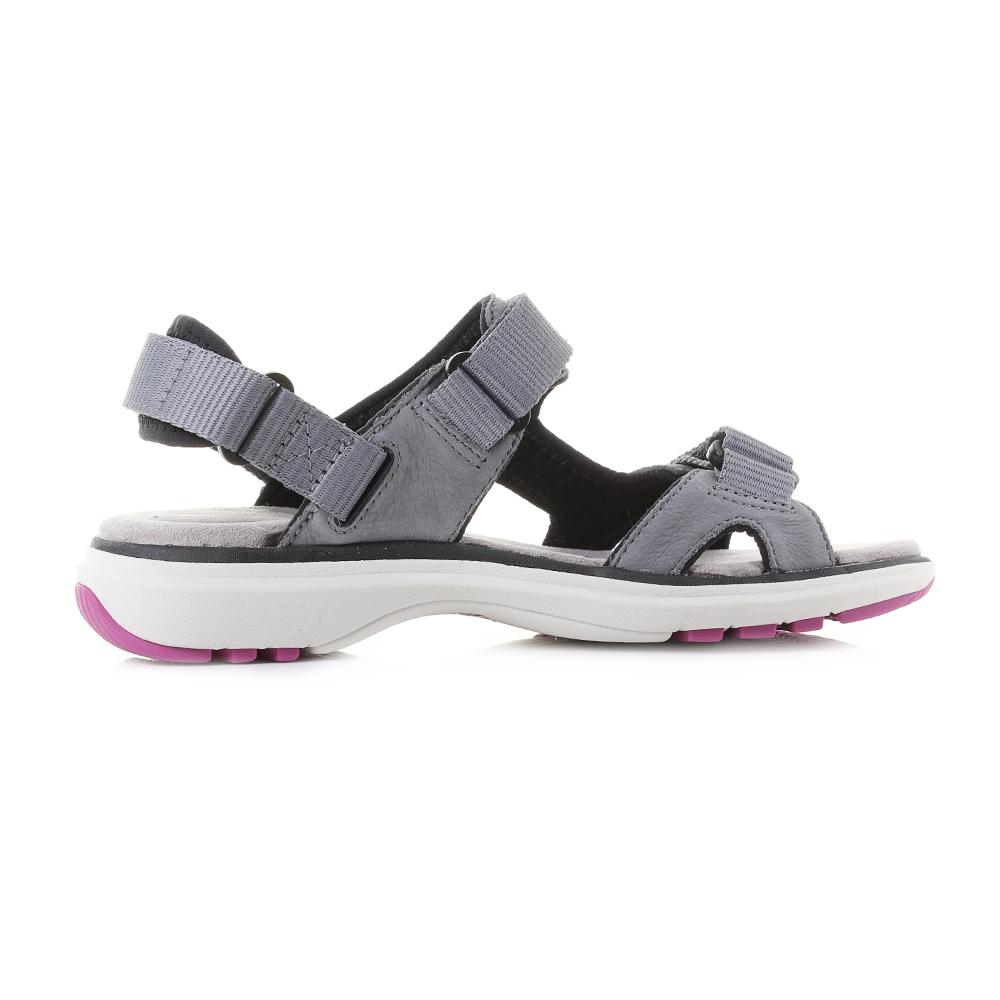 35b2f6afe4f Womens Clarks Un Roam Step Grey Nubuck Leather Strappy Sports Sandals Shu  Size