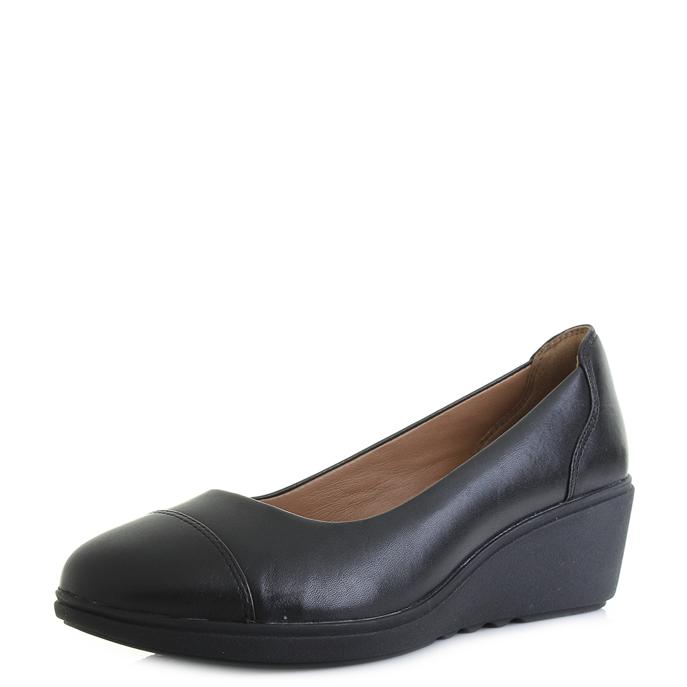 1780331130 Womens Clarks Un Tallara Dee Black Leather Wedge Heeled Shoes D Fit Size